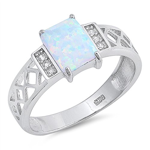 - Rectangle White Simulated Opal Filigree Ring New .925 Sterling Silver Band Size 7