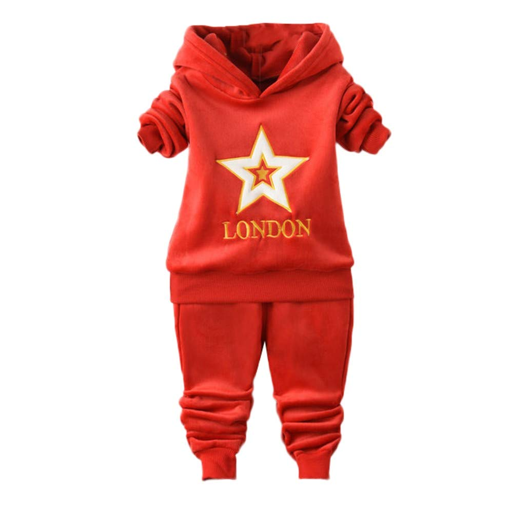 Sweatshirt and Trousers Set Unisex Toddler Kids Baby Girl Boys Stars London Letter Hooded Pullover Pants Warm Outfits