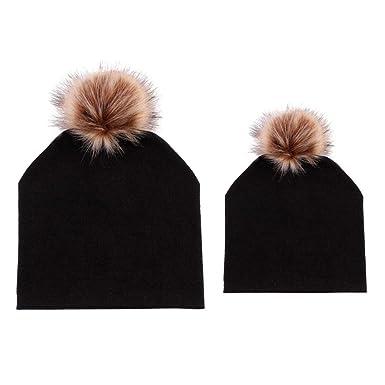 Diamondo 2pcs Set Baby Mom Dad Family Matching Hat Beanie Pompon Caps  (Black) 760773b3fba