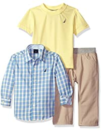 Baby Boys' Three Piece Set with Long Sleeve Plaid Woven Shirt, Tee and Pant