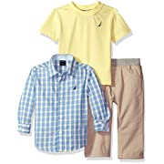 Nautica Baby Boys' Long Sleeve Woven Shirt, Tee, and Twill Pant Set, Light Yellow, 12 Months
