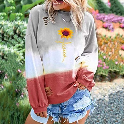 ZHANGYY Felpa da Donna a Manica Lunga Colorblock Tie Dye Print Top Top Casual Stampa T Shirt più Ampia