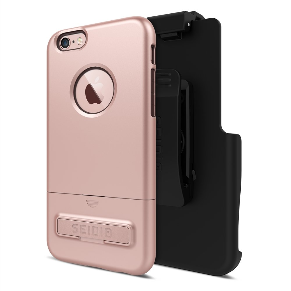 Seidio SURFACE with Metal Kickstand Case & Belt-Clip Holster for iPhone 6/6S - Non-Retail Packaging (Rose Gold/Chocolate Brown)