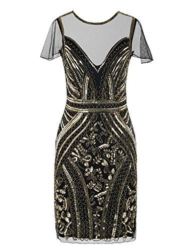 PrettyGuide Women 1920s Dress Vintage Sequin Inspired Cocktail Flapper Dress L Gold