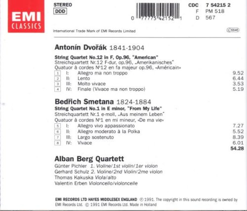 Dvorak: String Quartet - American,Op.96 / Smetana: String Quartet No. 1 in E minor