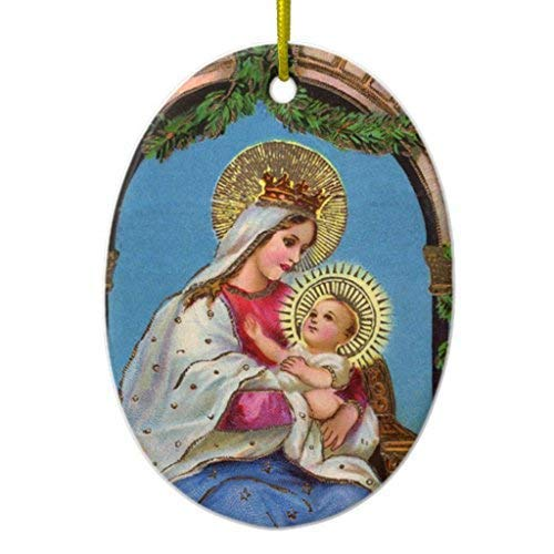 659ParkerRob Christmas Ornaments,Nativity Madonna Child Ornaments Ceramic,Christmas Decorations Indoor Tree, Couples Kids Oval
