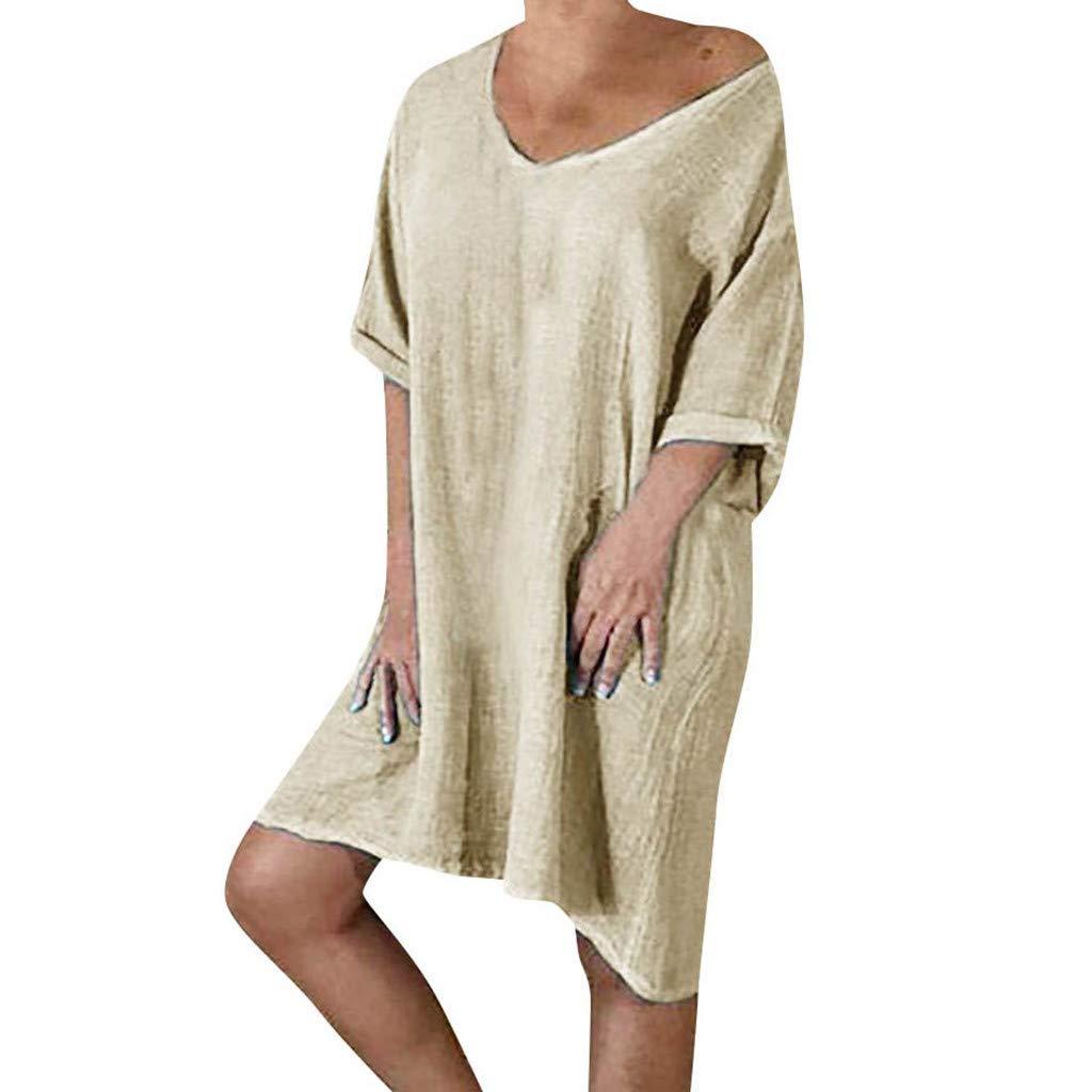 ZOMUSAR Women Summer Style Feminino Vestido T-Shirt Cotton Casual Plus Size Ladies Dress for Ladies Khaki