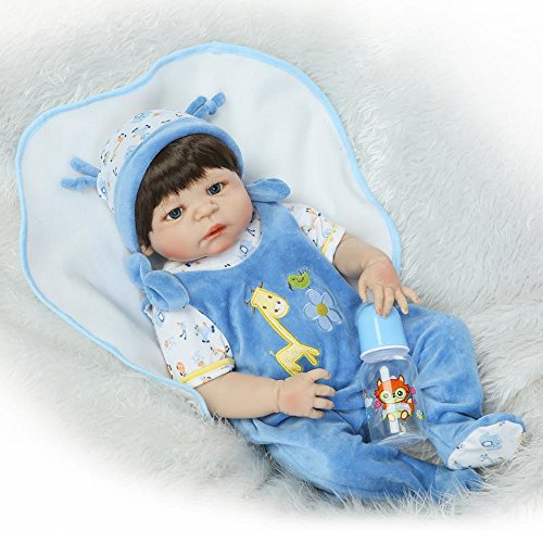 [Fan Moon Full Body Soft Silicone Eyes Open Newborn Boy Baby Doll 23-Inch] (Cabbage Head Costume)