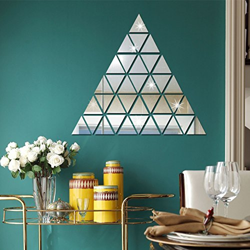 Acrylic Triangle Shape - Gilroy 100 Pcs DIY 3D Acrylic Triangle Mirror Wall Stickers Wall Art Decal Home Office Decoration