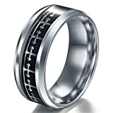 A.Yupha Cross Logo Christian Titanium Stainless Steel Band Ring Men Women Size 6-13#Silver+Black (6)