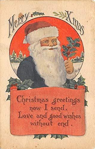 Blue Suit, Santa Claus Postcard Old Vintage 1913 -