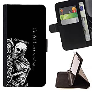 Momo Phone Case / Flip Funda de Cuero Case Cover - Andato al college Skeleton - Divertente - GothFue a la universidad Skeleton - Gracioso - Goth - Samsung Galaxy S6 Edge Plus / S6 Edge+ G928
