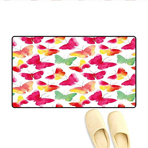 Bath Mat Watercolor Butterflies with Large Colored Wings Spirit Animal Love Paint Print Doormats for Inside Non Slip Backing Fuchsia Green 32