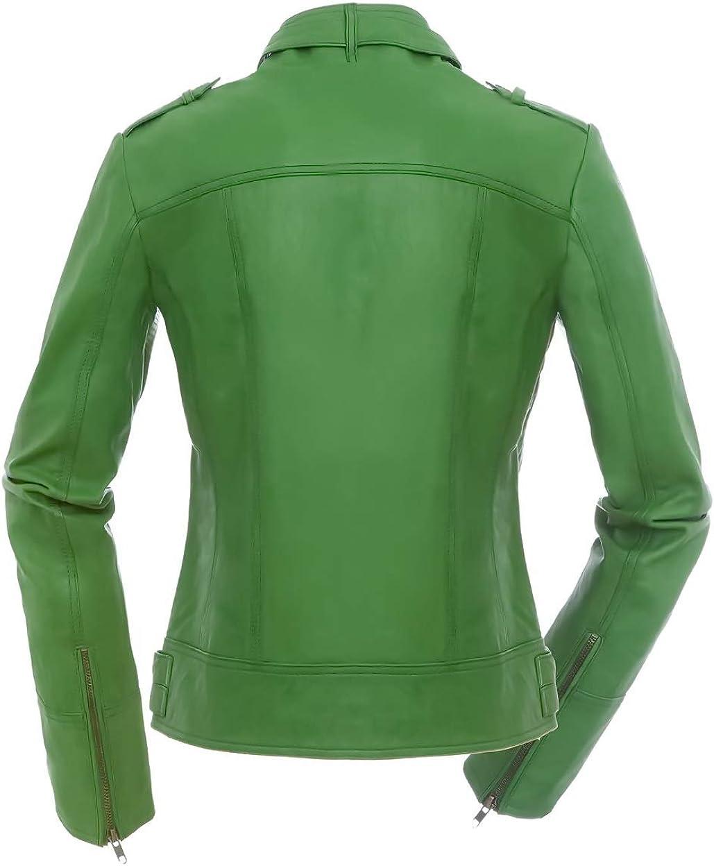 /Veste en cuir style biker pour femme tailles XS-XXL vert Magnifica Valery/
