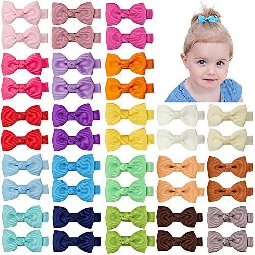Mini Hair Bows 1Pair Ribbon Bow Girl Toddler Baby Hair Clips Slides Colours Pins