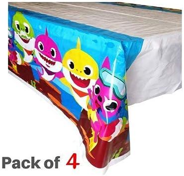 Micher Baby Shark Table Cover Party Supplies Decoraciones, Juego de 4 manteles para Fiesta de cumpleaños: Amazon.es: Juguetes y juegos