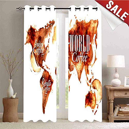 Hengshu Waterproof Window Curtain World Map Arabica Robusta and Mix Plants Geography Themed Stains Vintage Decorative Curtains for Living Room W72 x L84 Inch Burnt Sienna White