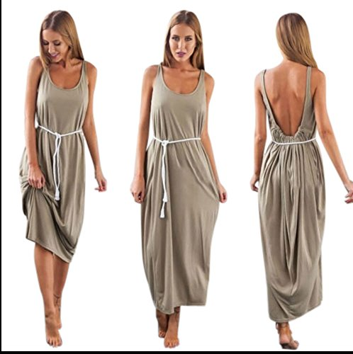 Women Hippie Boho Evening Party Beach Dress Long Dress Grey Size Small (Beach Outlet Long)