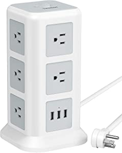 TESSAN Surge Protector Power Strip Tower, Flat Plug Desktop Charging Station with 11 Wide-Spaced Outlets and 3 USB Charger, 15A/ 6.5ft Extension Cord for Home, Office, Dorm Essential