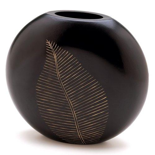 Decorative Vases for Living Room, Leaf Design Carved Wood Flower Vase