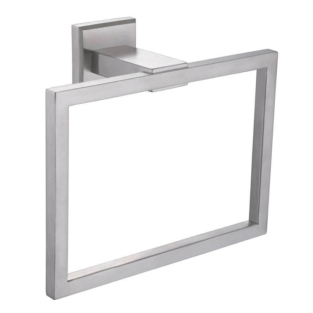 Towel Ring, Aomasi SUS304 Stainless Steel Square Bath Hand Towel Holder Stylish Bathroom Rack for Remodeled Home, Brushed Nickel