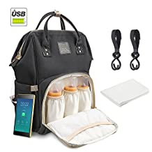 Diaper Backpack Multi-Functional Waterproof Travel Baby Diaper Bag Backpack with USB Charging Port for Baby care Large Capacity Fashion Durable Nappy Bag Gift for Mom&Dad Includes 1 Changing mat and 2 stroller Hooks (DarkGrey) (Black)