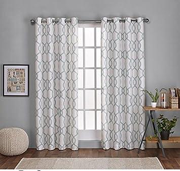 2 Piece 108 Inch Sea Foam White Diamond Curtains Panel Pair Set Light Green Color