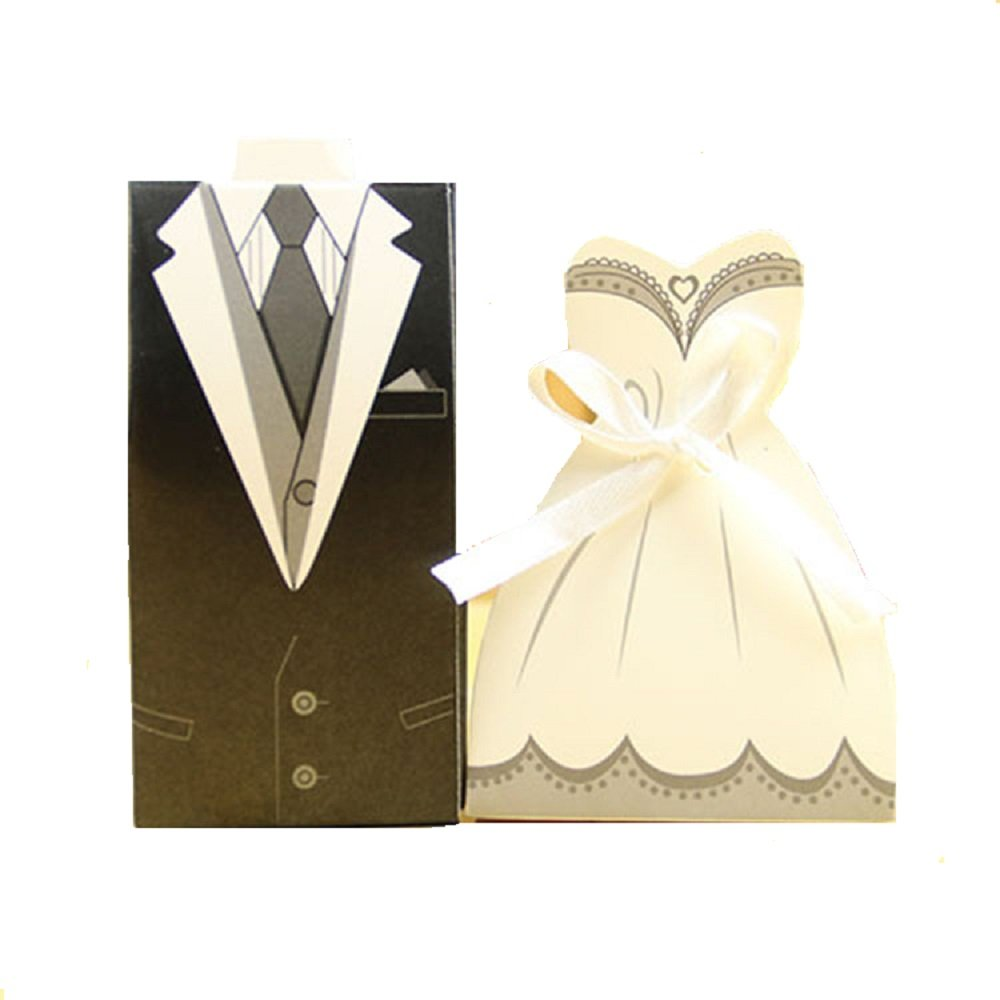 Amazon.com: IGBBLOVE Wedding Favor Candy Box Bride & Groom Dress ...