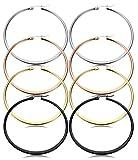 Jstyle 3-4 Pairs Stainless Steel Hoop Earrings for Women Flattened 40-60MM