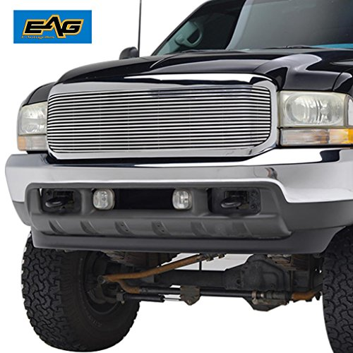 Billet Chrome Grille Shell - EAG 99-04 Ford Super Duty F-250/F-350 Front Hood Billet Grille with Chrome ABS Shell