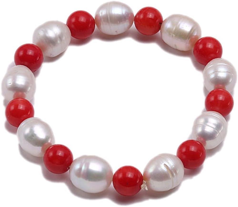JYX - Pulsera de perlas redondas de 9 mm, coral rojo y perla blanca