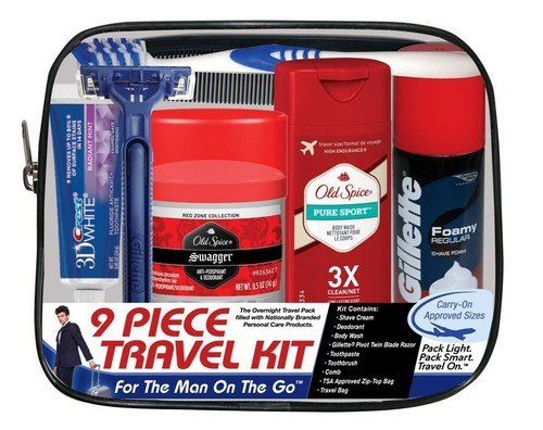 Convenience Kits Men's Deluxe, Man On the Go, 9-Count Travel Kit, Featuring: Old Spice Products