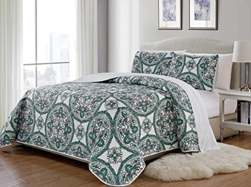 MK Home 3pc King/California King Bedspread Quilted Print Modern Floral White Aqua Green Black Over Size New # Madrid 61