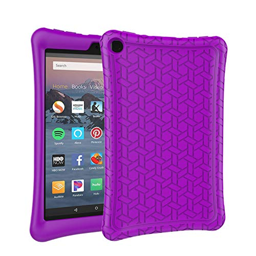 AVAWO Silicone Case for Amazon Fire HD 8 Tablet with Alexa (7th/8th Generation, 2017/2018 Release) - Anti Slip Shockproof Light Weight Protective Cover [Kids Friendly], Purple