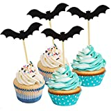 (Pack of 20) Black Bat Cupcake Toppers - Party Picks - Food Picks for Halloween Party Supplies