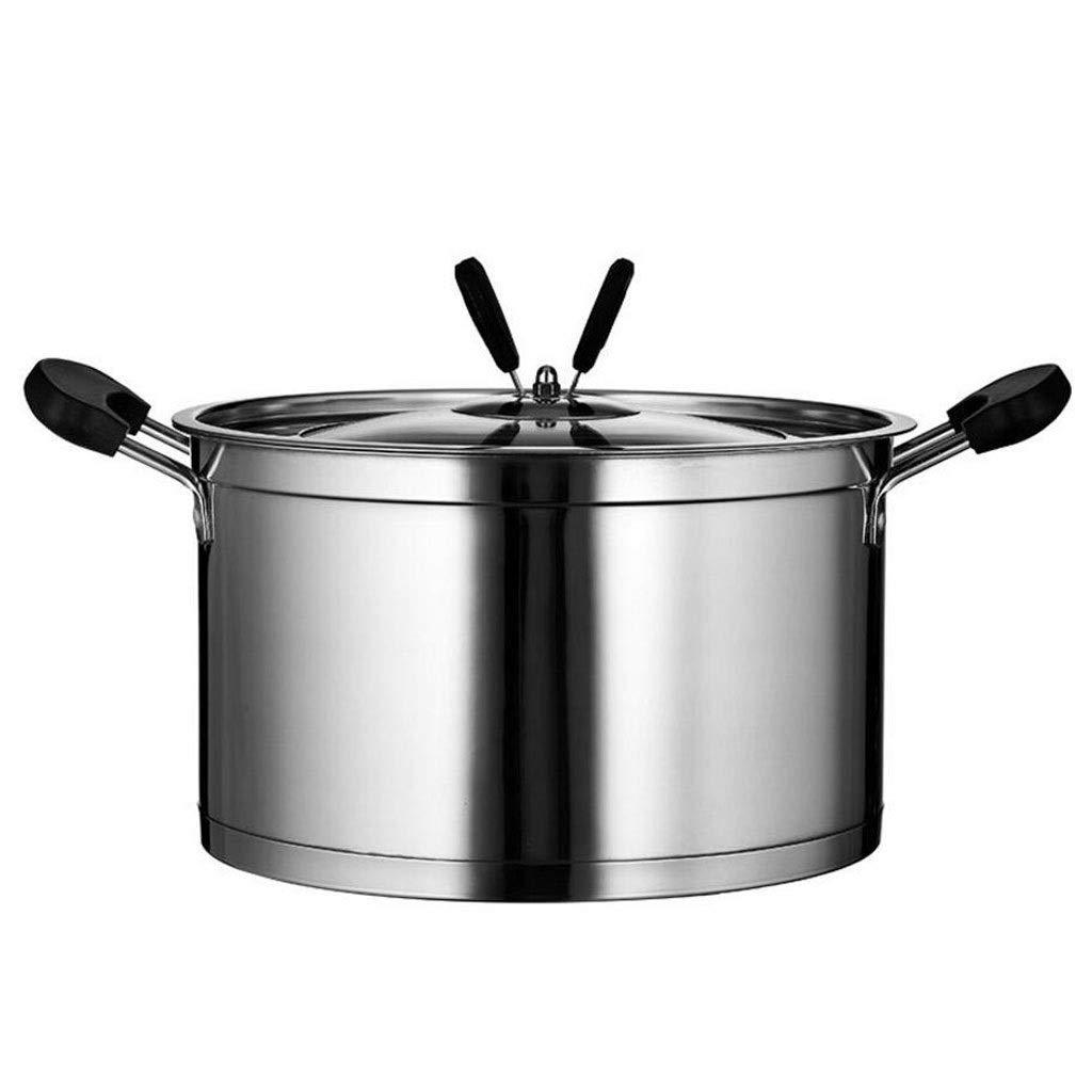 Olla para Sopa Acero Inoxidable 22 cm Grueso Doble Fondo Resistente al Calor Gran Capacidad Avena Salud Estofado Shabu-shabu Cocina de Gas a Fuego Abierto ...