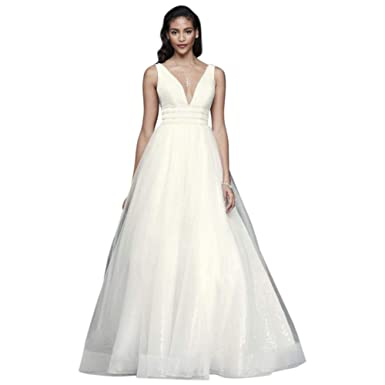 a813fc75987 Plunging Sequin Tulle Ball Gown Wedding Dress Style SV821 at Amazon Women s  Clothing store
