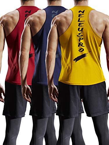 Mens Running Singlets Clothing (Neleus Men's 3 Pack Mesh Workout Muscle Tank Top,5007,Red,Navy Blue,Yellow,US M,EU L)