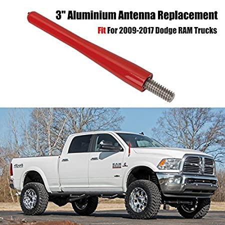 Antenna RAM Trucks, BOXATDOOR 3Inch/8.1CM 6MM AM FM Antenna Car Aerial Slender Metal Black for Dodge RAM Trucks 2009-2017