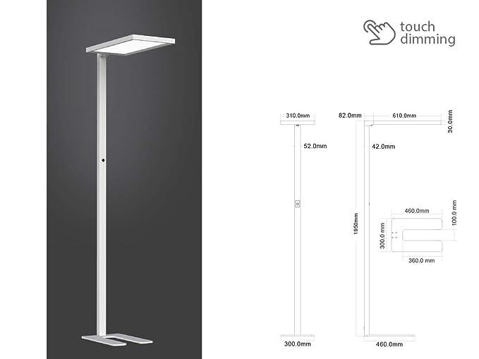LEDLUX SKU-8521 - Lámpara LED de pie moderna, plateada, con ...