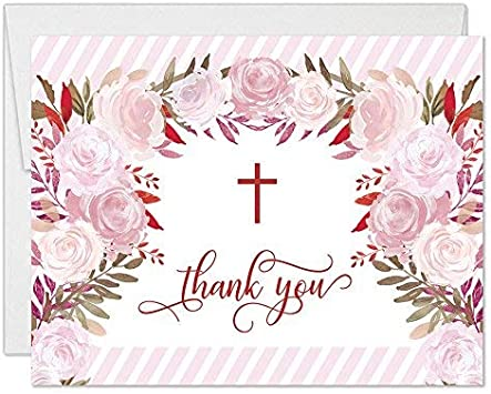 Pink Roses Mermaid Party Thank You Cards