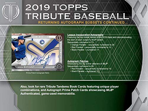 Amazon.com: 2019 Topps Tribute Baseball Hobby Box (6 Packs/3 Cards: 6 Autographs or Relics): Collectibles & Fine Art