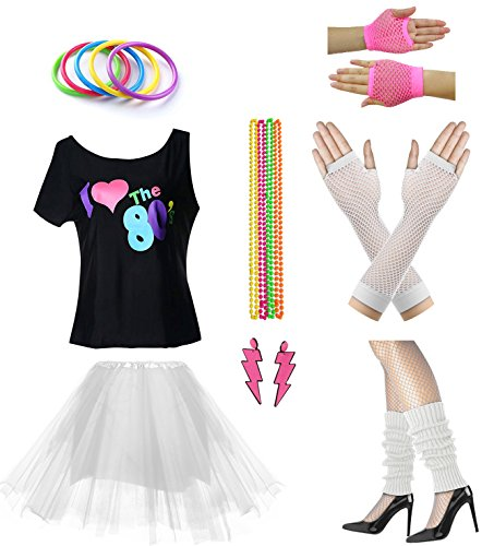 Women I Love The 80's Disco 80s Costume Outfit Accessories Set (XL/XXL, White)