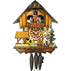 Original Mechanical Cuckoo-Clock 1-Day (Certified), Music, Turning Mill-Wheel, Timber-Framed House