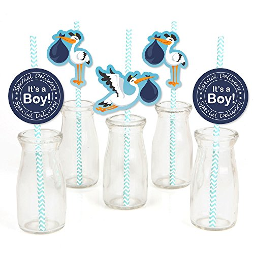 Boy Special Delivery - Paper Straw Decor - Blue It's A Boy Stork Baby Shower Striped Decorative Straws - Set of 24