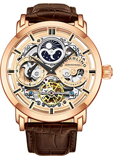 Stuhrling Original Mens Automatic-Self-Wind Luxury Dress Skeleton Dual Time Gold-Tone Wrist-Watch 22 Jewels 47 mm Stainless Steel Case (Rose Gold)