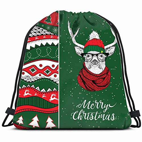 christmas card deer winter hat animals wildlife holidays Drawstring Backpack Gym Sack Lightweight Bag Water Resistant Gym Backpack for Women&Men for Sports,Travelling,Hiking,Camping,Shopping Yoga
