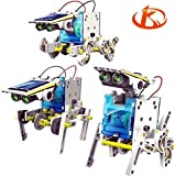 Kushina 14 in-1 Solar Power Robot Kids Toy DIY Kit Educational Gift can be Assembled into Wagging-tail Dog Running Beetle Walking Crab Surfer Speedster Zombie Chaser