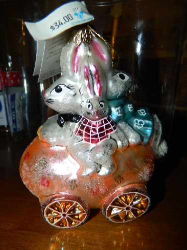 Chrsitopher Radko Bunmobile Easter Bunny Family European Glass Ornament, 1997, 97-198-0, Mint with Tag ()