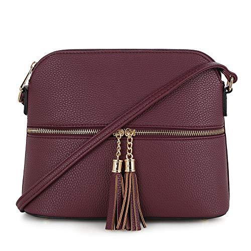 SG SUGU Lightweight Medium Dome Crossbody Bag with Tassel   Zipper Pocket   Adjustable Strap (Wine)